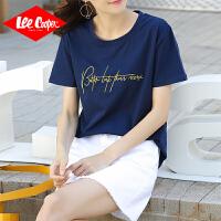 Lee Cooper短袖t恤女字母刺绣2020新款春季时尚显瘦内搭打底衫上衣女式t恤