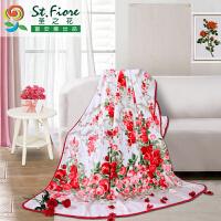 富安娜出品 圣之花印花保暖午睡毯多功能办公室盖毯180*200cm