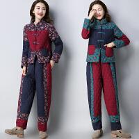 冬装新款棉麻民族风套装大码加厚印花拼接盘扣加厚棉衣两件套