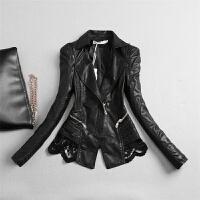 天天秋冬款韩版蕾丝拼接PU皮衣短款修身显瘦女士皮夹克外套 黑色(单款) M