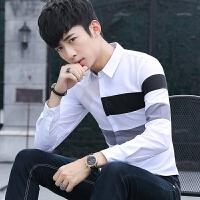 新款2018男士长袖男士个性长袖衬衫春季拼接衬衫男长袖韩潮流