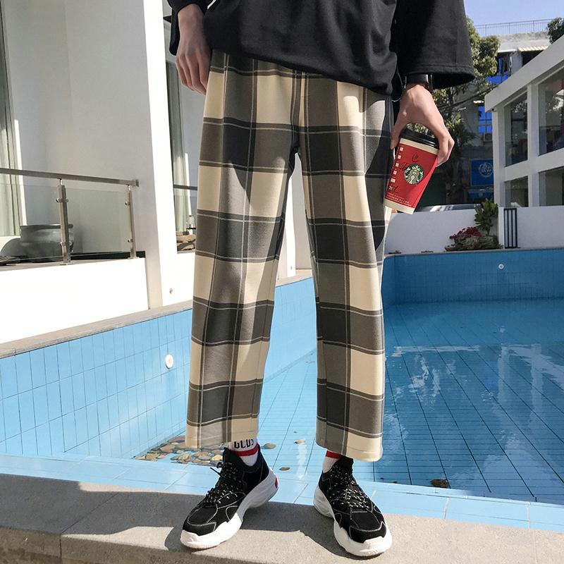 夏季薄款格子休闲裤男士时尚宽松直筒裤子韩版潮流夏天学生九分裤 发货周期:一般在付款后2-90天左右发货,具体发货时间请以与客服协商的时间为准