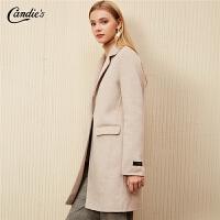【限时秒杀价:616】全羊毛毛呢大衣中长款女士拉夏贝尔冬季新款韩版宽松呢子外套