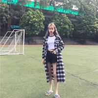 秋季2018韩版新品宽松显瘦长款红黑格子衬衫百搭直简风衣外套女潮