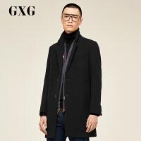 GXG大衣男装 冬季男士青年时尚休闲黑色长款羊毛毛呢大衣外套