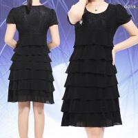 连衣裙蛋糕裙夏季修身短袖韩版新款胖mm加肥加大码女装200斤雪纺