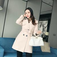 冬季韩版纯色西装领双排扣修身显瘦中长款毛呢外套