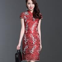 春夏装修身旗袍裙儿子婚庆婚礼妈妈装连衣裙高贵结婚宴喜婆婆礼服 红色 夏款短袖