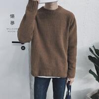 新款秋冬装韩版圆领毛衣潮流舒适纯色内搭保暖男毛衣针织衫套头衫