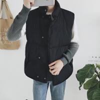 棉衣马甲男士外套秋冬季新韩版棉背心男装外套坎肩潮流青年棉衣服 黑色