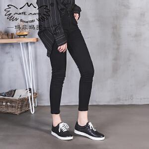 玛菲玛图平底鞋女新款秋季休闲女鞋深口圆头单鞋低跟学院风系带真皮鞋6131-12