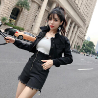 套装女秋季2018新款韩版气质牛仔外套+拉链磨边短裤两件套gn 黑色