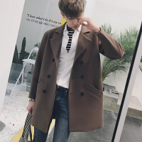 新款2018秋冬男装大衣青年韩版冬季呢料长外套修身男士中长款呢子