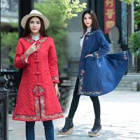 中长款棉衣秋冬新款民族风女装长袖绣花盘扣单排扣中国风