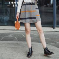 海贝2017冬装季新款女装 韩版高腰收腰格子毛呢短裙半身裙A字裙