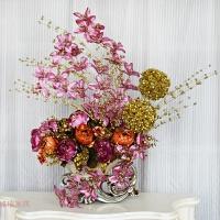 枫叶插花客厅玄关餐桌讲台仿真花艺套装绢花装饰摆件欧式花瓶