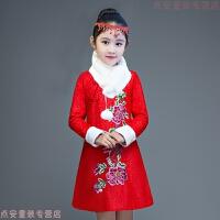 儿童旗袍秋女童唐装冬季新年装中国风加厚加绒拜年衣服宝宝过年装