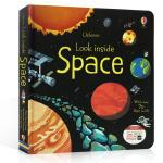英文原版 Usborne Look Inside Space 偷偷看里面 揭秘太空 纸板翻翻书 4-6-8岁儿童科普知