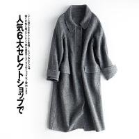 干练气质 人字纹理 80%羊毛双面呢大衣中长款毛呢外套女L3/4/00