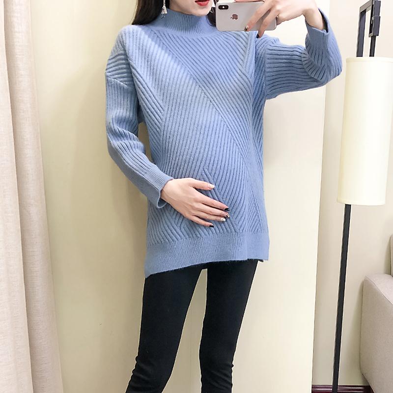 孕妇毛衣秋冬装孕妇毛衣2018套头高领花纹针织打底衫套装上衣