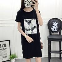 夏季韩版女士纯棉短袖中长款T恤睡裙宽松睡衣裙子全棉外穿家居服