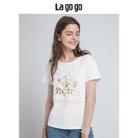 【5折价107.5】Lagogo/拉谷谷2018秋季新款时尚拼接网纱字母印花白色短袖T恤女