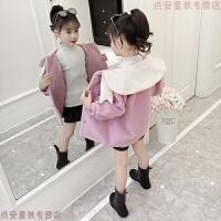 女童毛呢外套2018新款韩版秋冬季洋气小女孩中长款儿童呢子大衣潮 粉红色 娃娃领毛呢大衣