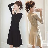 2018秋季新款韩版时尚气质女装修身显瘦绑带针织连衣裙长袖A字裙