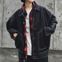 港风牛仔外套男秋冬季长袖韩版学生百搭帅气宽松潮流夹克上衣外衣