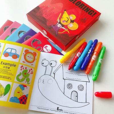 Endu恩都画画本绘画本 儿童涂色书3-6岁幼儿涂鸦填色本学习用品套装 6本涂色本送6只可水洗蜡笔