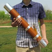 破竹75厘米水烟筒云南烟丝筒实木大号不锈钢铝合金水烟袋 不锈钢包边款