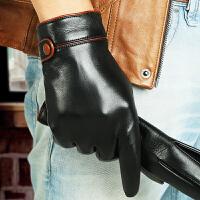 手套男士冬季保暖开车骑车触屏羊皮手