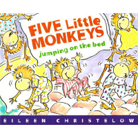Five Little Monkeys Jumping on the Bed 五只小猴子床上蹦蹦跳 英文原版 廖彩杏书