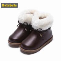 【3折到手价:71.7】巴拉巴拉儿童靴子2017秋冬新款女童雪地靴冬季鞋宝宝保暖甜美短靴