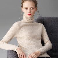 高领羊绒衫 女 羊绒 修身套头打底衫 短款堆堆领毛衣