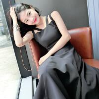 无袖连衣裙女夏季设计修身复古双吊带中长款色连衣裙女中长裙