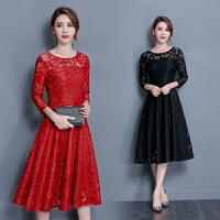 夏季新款女修身显瘦中长款红色蕾丝大摆连衣裙4741妈妈婚庆