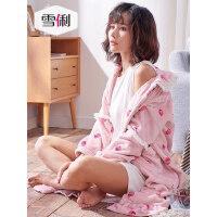 雪俐秋冬珊瑚绒女士睡衣韩版长款甜美法兰绒可外穿家居服睡袍浴袍