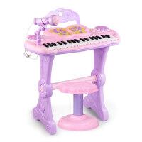 儿童电子琴宝宝智力小孩多功能钢琴女孩音乐玩具礼物带麦克风凳子