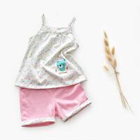 宝宝夏装短袖女婴幼儿洋气套装T恤吊带背心儿童套装