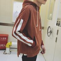 新款连帽套头卫衣男士2018秋季条纹韩版潮流学生运动衣服宽松外套