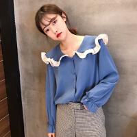 2018春装新款韩版学生打底衬衫上衣宽松长袖套头荷叶领气质雪纺衫