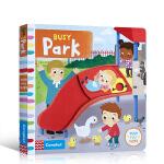 顺丰发货 英文原版进口绘本 Busy系列 Busy Park 忙碌的公园 英文原版进口绘本 儿童启蒙纸板书机关书操作书