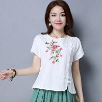 中国风上衣女 夏季新款 民族风棉麻女装中式盘扣宽松复古刺绣T恤