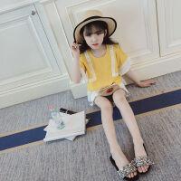 女童夏季上衣2018新款韩版时尚儿童雪纺短袖中大童宽松休闲潮童衣