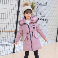 乌龟先森 棉衣 女童长袖V领加厚拉链衫冬季新款韩版儿童时尚休闲舒适百搭中大童外套