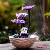 乔迁*客厅装饰品流水桌面小喷泉摆设陶瓷水晶球创意加湿器摆件