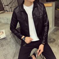 新款18秋冬韩版修身皮夹克潮男青年小伙短款S小码外套160