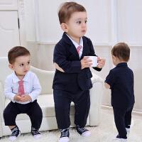 新生儿衣服春秋初生婴儿套装纯棉春装0-3个月男宝宝周岁英式礼服