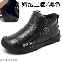 冬季冬季男童棉鞋牛皮�和�小童短靴子加�q二棉鞋大童英��皮鞋小童保暖秋冬新款